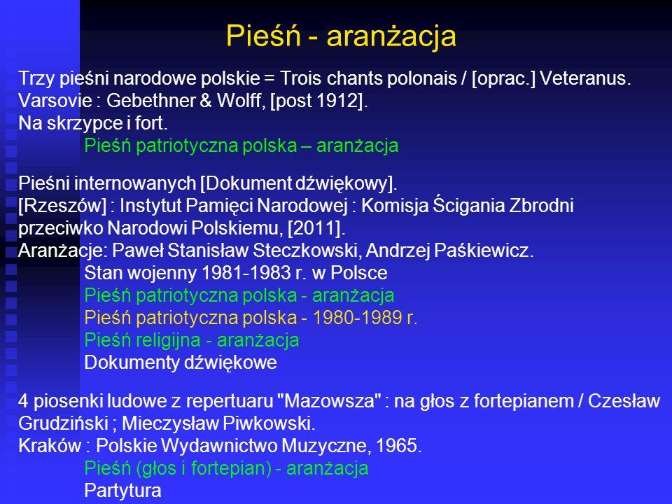 Pieśń - aranżacja Trzy pieśni narodowe polskie = Trois chants polonais / [oprac.] Veteranus. Varsovie : Gebethner & Wolff, [post 1912].